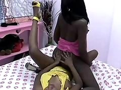 Two sexy black lesbians have fun in sauna